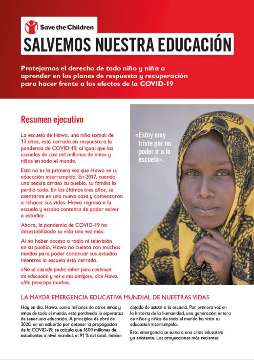 Miniatura del reporte Save our education 2020