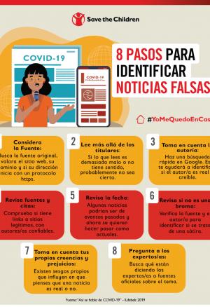 Imagen con consejos para evitar y reconocer noticias falsas