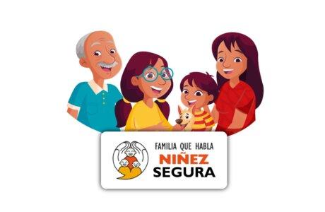 Ilustración de una familia compuesta por abuelo, hija, hijo y mamá. En texto dice Familia que habla, niñez segura