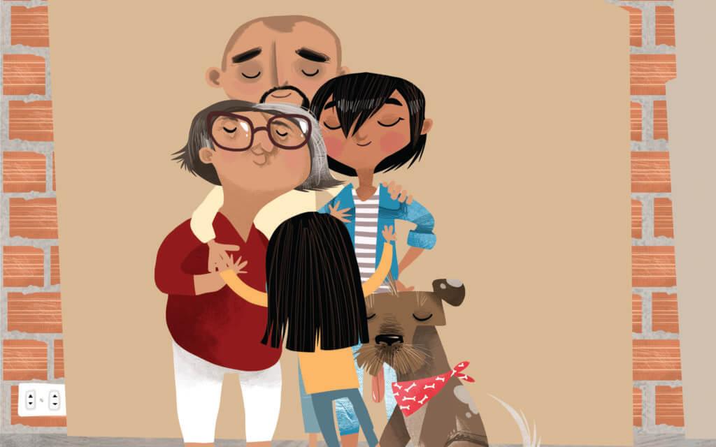 Imagen de la familia de Camila, protagonista de uno de los cuentos, abrazándose.