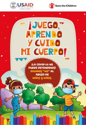 Portada del libro dice: ¡Juego, aprendo y cuido mi cuerpo! Imagen: un niña y un niño usando mascarillas al aire libre.