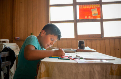 Niño sentado en una mesa coloreando un libro